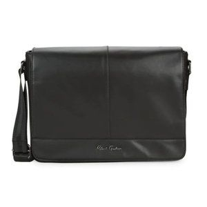 Robert Graham Logo Faux Leather Messenger Bag